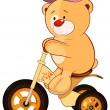 Bear on children's tricycle — Stock Vector #59291003