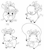 Cows coloring book — Stock Vector