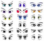 Complete set of the drawn eyes — Stock Vector