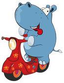 Hippopotamus on scooter. — Stock Vector