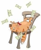 Gato con dinero — Vector de stock