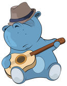 Little hippo, guitarist. — Stock Vector