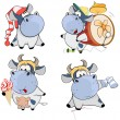 Happy cows.Clip-Art. — Stock Vector #61614751