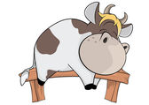 A small cow. Cartoon — Stock Vector