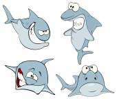Set of cute sharks — Stock Vector