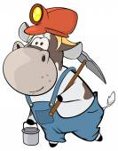 A little cow miner. — Vector de stock
