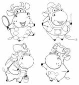 Cartoon Happy cows — Stock Vector