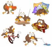 Sevimli baykuşlar kümesi — Stok Vektör