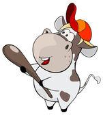 Small bull with baseball bat — Stock Vector