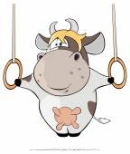 Cow performing on rings — Stock Vector
