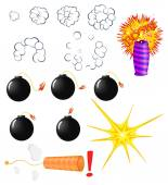 Explosive pyrotechnic cartoon — Stock Vector