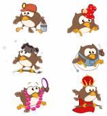 Set of cute owls — Stock Vector