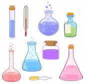 Cartoon laboratory flasks — Stock Vector