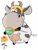 Cow observing flower — Stock Vector
