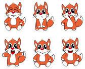 Set of funny foxes — Vector de stock