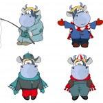 Happy cows in winter clothes — Stock Vector #67890871