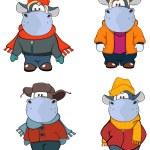 Happy cows in winter clothes — Stock Vector #67890947