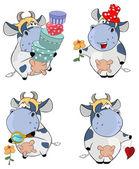 Set of happy cows — Stock Vector