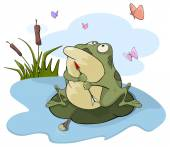 Green big frog — Stock Vector