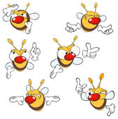 Cartoon yellow bees — Stock Vector