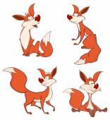 Red foxes cartoon — Stockvektor