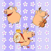Funny cartoon pigs with instruments — Stock Vector