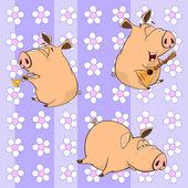 Funny cartoon pigs — Vettoriale Stock