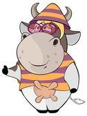 Cartoon funny cow — Stock Vector