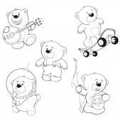 Set of bears outline — Stock Vector