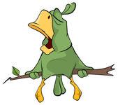 Green parrot cartoon — Stock Vector