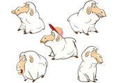 Set of cute cartoon sheep — Stock Vector