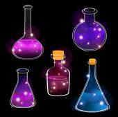 Set of laboratory flasks — Stock Vector