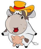 Little cow. Cartoon — Stock Vector