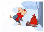 Pig pulling sledge — Stock Vector