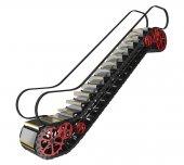 Mechanism of the escalator — Stock Photo