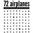 72 vector icons of airplanes — Stock Vector