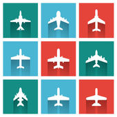 Vector icons of airplanes — Stock Vector