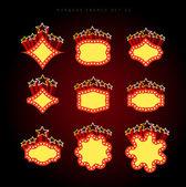 Retro illuminated movie marquee vector set — Stock Vector