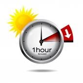 Clock switch to summer time daylight saving time — Vetor de Stock
