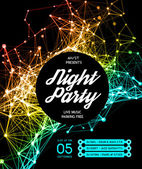 Night Disco Party Poster Background — Stock Vector