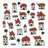 Set of houses, sketch for your design — Stock Vector
