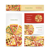 Set of business cards design with pizza slices — Stock Vector