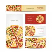 Set of business cards design with pizza slices — Wektor stockowy