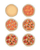 Stages of cooking pizza, sketch for your design — Stock Vector