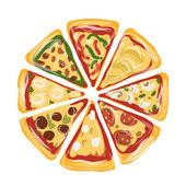 Pieces of pizza, sketch for your design — Vector de stock