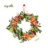 Vegetable frame, sketch for your design — 图库矢量图片
