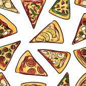 Pieces of pizza, seamless pattern for your design — Stock Vector