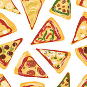 Pieces of pizza, seamless pattern for your design — Vector de stock