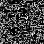 City sketch, seamless pattern for your design — Vector de stock