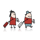 Couple with suitcases and tickets, cartoon — Stock Vector
